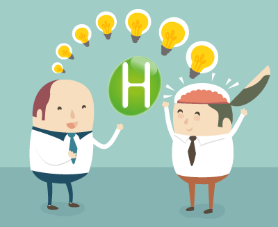 Deux employeurs se partage une idée sous forme d'ampoule alumée