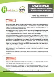 Copie d'écran de la première page de la synthese du groupe de travail