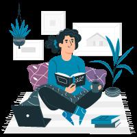 Femme assise sur des coussins chez elle et lisant des livres