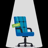 """chaise vide avec le message """"vacant"""""""