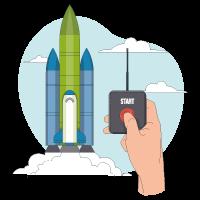 Main appuyant sur un bouton start pour le décollage d'une fusée