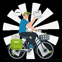 Homme à vélo distribuant le journal