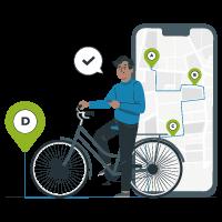Homme à vélo regardant un itinéraire sur son téléphone