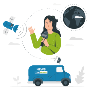 journaliste et son camion information